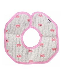 Babies Bloom Round Cotton Saliva Bib Bear Print - Light Pink & White