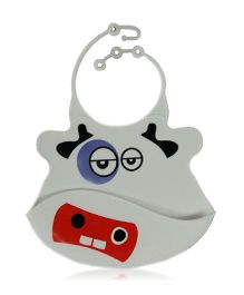 Babies Bloom Bib With Crumb Catcher Cow Shape - Grey