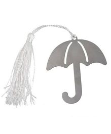 Babies Bloom Stainless Steel Umbrella Bookmark With Tassel - Silver