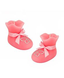 Babies Bloom Shoe Shaped Birthday Candle Set of 2 - Pink