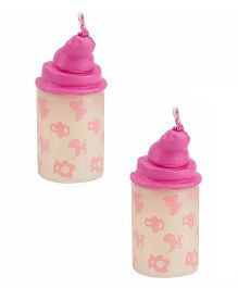 Babies Bloom Milk Bottle Shaped Candle Set of 2 - Pink