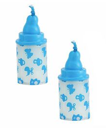 Babies Bloom Milk Bottle Shaped Candle Set of 2 - Blue