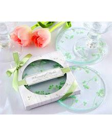Babies Bloom Glass Leafy Meadow Coaster Green - Set of 2