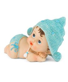Babies Bloom Lifelike Decorative Resin Baby Doll Blue - 8 cm