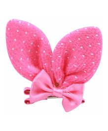 Babies Bloom Aligator Hair Bow Clip - Dark Pink White