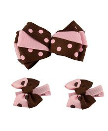 Babies Bloom Hair Bow and Clip Set - Brown Pink