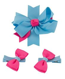 Babies Bloom Hair Bow and Clip Set - Blue Pink