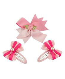 Babies Bloom Hair Bow and Clip Set - Pink