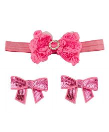 Babies Bloom Headband And Hair Clip Set - Fuchsia