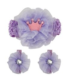 Babies Bloom Headband And Hair Clip Set - Purple