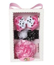 Babies Bloom Hair Accessory Set - Pink And Black