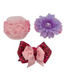 Babies Bloom Flower Headband Ribbon Bow Design Hair Accessory Set - Multi Colour