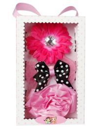 Babies Bloom Elastic Headband Set of 3 - Pink Black