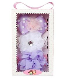 Babies Bloom Elastic Headband Set of 3 - Purple White