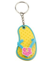 Babies Bloom Flip Flop Tropical Flower Key Chain - Yellow Blue