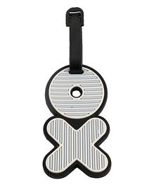 Babies Bloom Stripped XO Luggage Tag - Black Light Blue