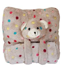 Babies Bloom Coral Fleece Blanket & Pillow Cuddle Set Teddy Face - Brown