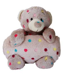 Babies Bloom Coral Fleece Blanket & Pillow Cuddle Set Teddy Polka Dots - Brown