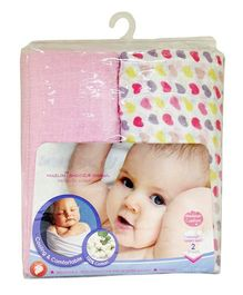 Babies Bloom Muslin Snoozie Shawl Set of 2 - Pink