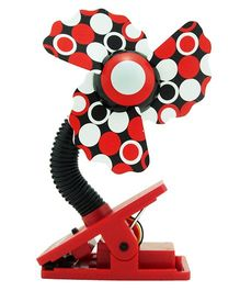 Babies Bloom Clip On Cooling Fan For Babies - Red Black