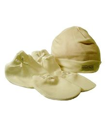 Babies Bloom Solid Color Hand Mittens Booties And Cap Set - White