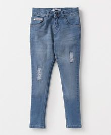 Palm Tree Ripped Jeans With Elastic Waist - Blue
