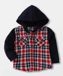 Gini & Jony Full Sleeves Hooded Checks Shirt - Red & Black