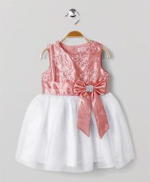 Wonderchild Party Wear Dress With Bow - Peach & White