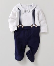 Wonderchild Suspender Style Footie - White & Navy
