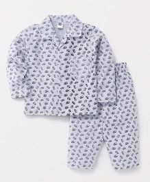 Teddy Full Sleeves Night Suit Set Allover Vehicle Print - White