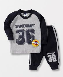 Teddy Full Sleeves T-Shirt And Track Pant Spacecraft Patch - Grey