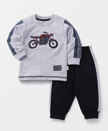 Teddy Full Sleeves T-Shirt And Lounge Pant Bike Patch - Grey