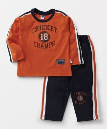 Teddy Full Sleeves T-Shirt And Track Pant Cricket Champs Print - Orange