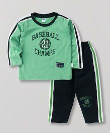 Teddy Full Sleeves T-Shirt And Track Pant Baseball Champs Print - Green