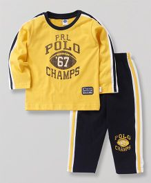 Teddy Full Sleeves T-Shirt And Track Pant Polo Champs Print - Yellow