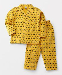 Teddy Full Sleeves Night Suit Set Allover Animal Print - Yellow