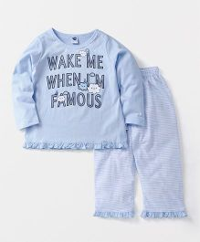 Teddy Full Sleeves Night Suit Set Caption Print - Blue