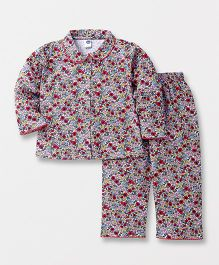 Teddy Full Sleeves Night Suit Set Allover Floral Print - Multicolor