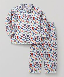 Teddy Full Sleeves Night Suit Set Hello Rabbit Print - White & Multicolor