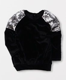 Little Kangaroos Party Wear Top With Sequin Detailing - Black