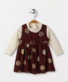 Little Kangaroos Party Wear Polka Dot Frock With Inner Top - Maroon Off White