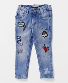 Vitamins Full Length Jeans With Patch - Blue