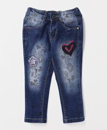 Vitamins Full Length Jeans With Heart Patch - Blue