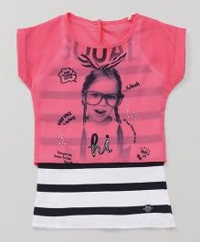 Vitamins Singlet Dress With Crop Top Girls Print - Pink White