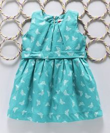 Babyhug Sleeveless Frock Butterfly Print - Turquoise Blue