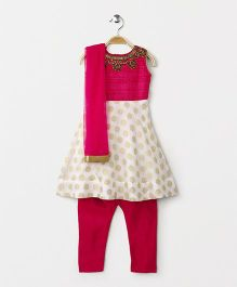 Babyhug Sleeveless Kurti & Churidar Set With Dupatta - Fuchsia White