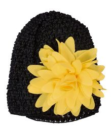 Miss Diva Crochet Cap With Pretty Flower - Yellow