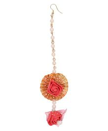 Miss Diva Ethnic Pearl Beaded With Flower Maang Teeka - Red And Golden