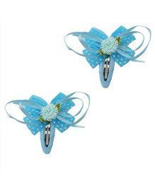 Miss Diva Beautiful Bow Flower Tic Tac Pair - Turquoise
