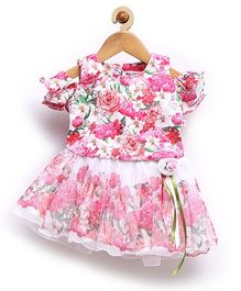 Rose Couture Fit & Flare Rose Flower Applique Baby Skirt Top With Hairband - Pink